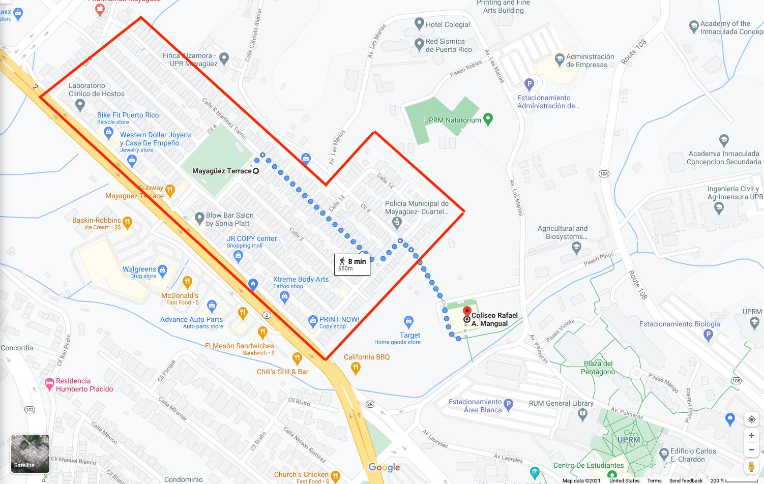 Distancia desde Terrace hasta el Colegio UPRM